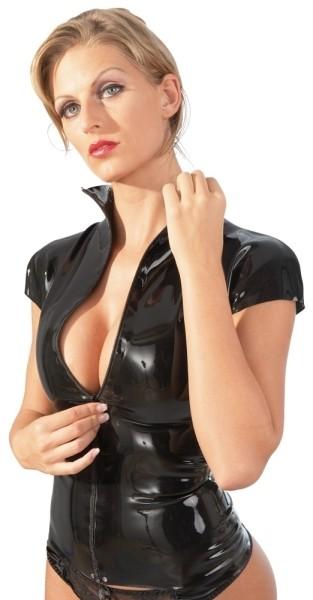 Latex Shirt Zip schwarz 2XL